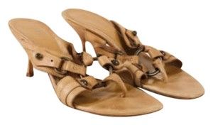 Alexander McQueen Tan Leather Mule Sandals