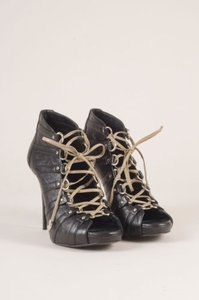Balmain Black Leather Lace Up Boots