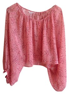 Candie's Print Crop Crop Flowy Sheer Buttons Top Pink