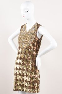 Naeem Khan Gold Bronze Sequin Embellished Rhinestone Bib Sl Dress