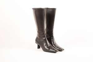 Prada Leather Mid Calf Zipper Low Heel Brown Boots
