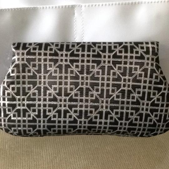 Lauren Merkin Metallic Geometric Patterned Black/Silver Clutch