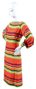 Other short dress Red Pauline Trigere Multicolor Striped Long Sleeve Shift on Tradesy