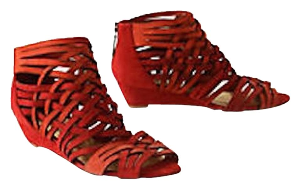 109430795c383 Anthropologie Daniblack Suede Blood Orange Strappy Sandals Micro Hipster  Rare Hard To Find Red Wedges Image ...