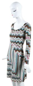 M Missoni short dress Multi-Color Blue Brown Wool Knit Zig Zag Long Sleeve on Tradesy