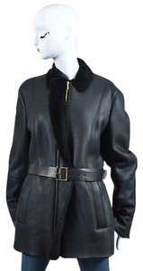 Gucci Leather Shearling Lined Belted Coat