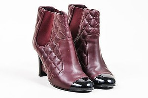 Chanel Maroon Black Quilted Leather Patent Cap Toe Wedge Red Boots