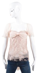 Valentino Roma Pink Brown Silk Lace Tie Back Flutter Sleeve Top