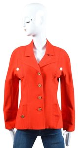 Chanel Vintage Textured Woven Coco Coin Button Red Jacket