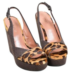 ALAA Alaia Tan Leopard Print Brown Sandals