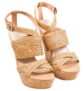 Loeffler Randall Loeffler Woven Leather Cork Platform Wedge Tan Sandals