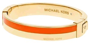 Michael Kors Michael Kors MKJ4444 710 Color Block Hinge Orange & Gold tone Bangle Bracelet NEW! $125