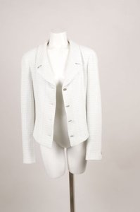 Chanel Blue Cream Wool Tweed Button Up Jacket