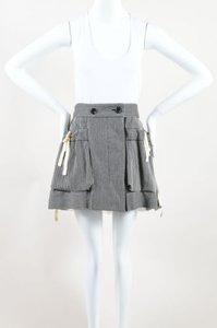 Louis Vuitton White Pinstripe Ruffle Mini Mini Skirt Black
