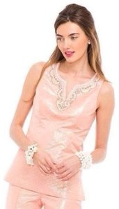 Lilly Pulitzer Metallic Tunic Evening Scalloped Jewled Crystal Beaded Embellished Shell Pink Pearl Beading Jacquard Tory Burch Ella Top