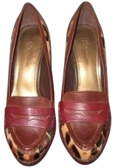 INC International Concepts Leather Calf Hair Comfy Print pony/red Pumps