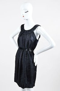 Vera Wang Sateen Pleated Sequin Belted Sleeveless Dress