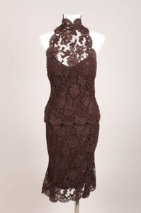 Monique Lhuillier Monique Lhuillier Brown Mesh Lace Sleeveless Top Trumpet Skirt Two Piece Set