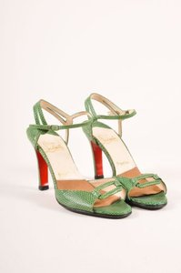 Christian Louboutin Green Snakeskin Leather Ankle Strap Heels Sandals