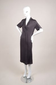 Lanvin Dark Gray Silk Blend Short Sleeve Draped Dress