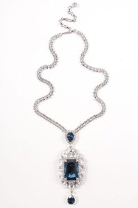 Other Thorin Co. Silver Tone Blue Rhinetstone Oval Drop Pendant Necklace