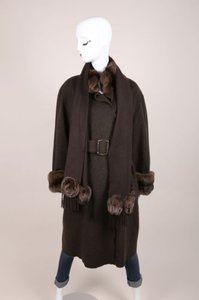 Fendi Brown Cashmere Fur Trim Belted Full Length Long Sleeve Coat