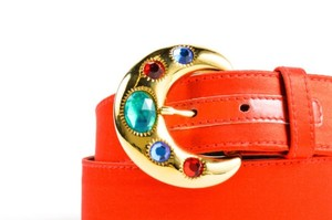 Escada Vintage Escada Red Green Blue Gold Tone Sateen Leather Jewel Buckle Belt
