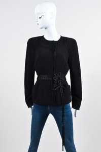 Prada Prada Black Ponte Knit Pleated Beaded Belted Long Sleeve Blazer Jacket