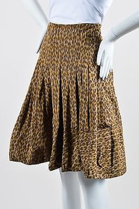 Prada Tan Brown Leopard Print Skirt Multi-Color