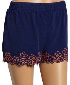Fifty Street Embroidered Elastic Waist Scalloped Shorts navy and orange