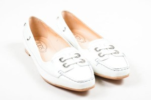 Tod's Tods Patent Leather White Flats