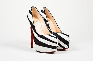Christian Louboutin Black White Ponyhair Zebra Print Daffodile 160 Multi-Color Pumps