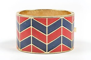Lanvin Vintage Lanvin Gold Tone Red Navy Enamel Chevron Hinged Wide Bangle Bracelet