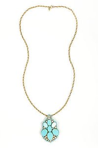Miriam Haskell Vintage Miriam Haskell Brass Tone Turquoise Beaded Faux Pearl Pendant Necklace