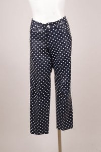 Ralph Lauren Label Navywhite Polka Dot Leather Pants