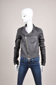 Rick Owens Gray Blue Slanted Zip Long Sleeve Leather Bomber Jacket