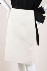 Lanvin Black Textured Knit Oversized Bow Pencil Skirt Cream