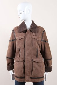Etro Suede Shearling Leather Long Sleeve Brown Jacket