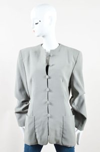 Donna Karan Olive Wool Button Up Long Sleeve Blazer Gray Jacket