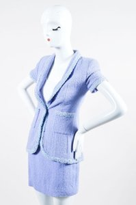 Chanel Chanel Boutique 95p Periwinkle Metallic Tweed Sequin Trim Ss Skirt Suit