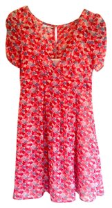 American Eagle Outfitters short dress Bright Red/Pink/Blue Floral on Tradesy
