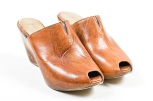 Henry Beguelin Leather Peep Toe Wedge Brown Mules