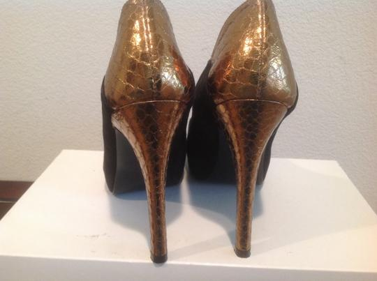 "Guess 4 3/4"" Stiletto Snake Suede Peep Toe Uppers Black and gold Sandals"