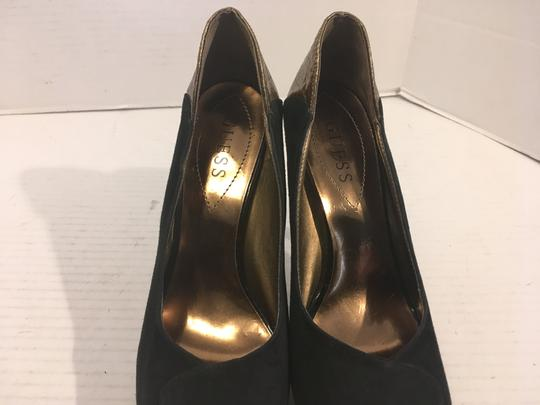 Guess Heels Black suede and gold embossed leathers peep toe Platforms
