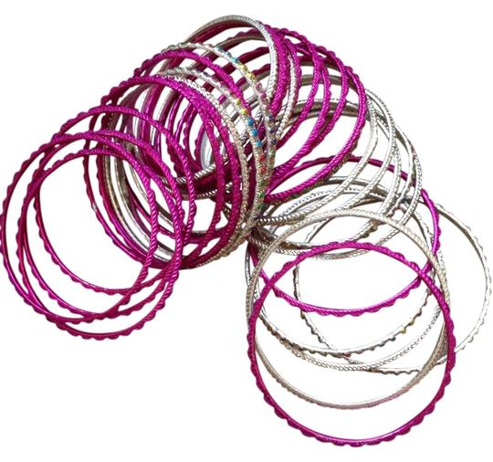 Preload https://img-static.tradesy.com/item/1093012/pink-and-silver-bangles-bracelet-0-0-540-540.jpg