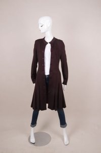 Chanel Maroon Button Front Long Sleeve Dressy Coat Jacket