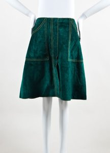 Derek Lam Yellow Suede Leather Contrast Stitch A Line Skirt Green