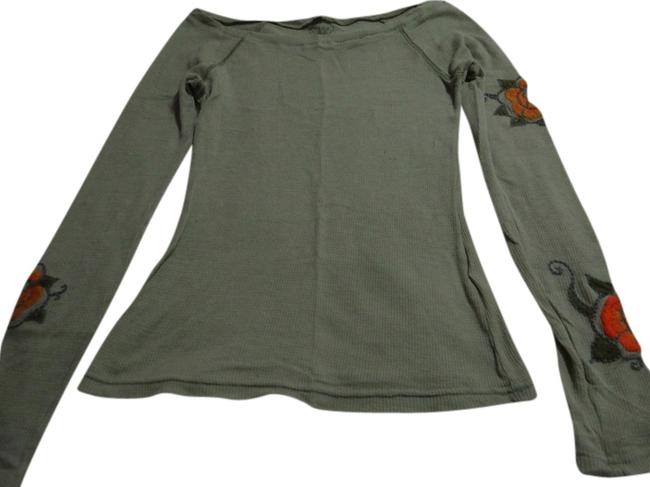 Item - Green Floral Embroidery Long Sleeve Vintage Blouse Size 4 (S)