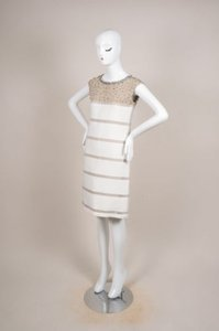 Fendi short dress Tan Cream Silk Knit Contrast Rhinestone Embellished Mesh Trim on Tradesy