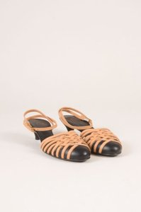 Chanel Black Tan Leather Woven Cage Closed Toe Sandals